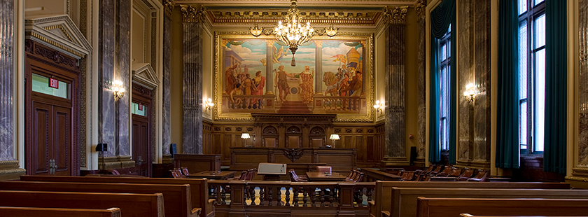 Photo of a courtroom