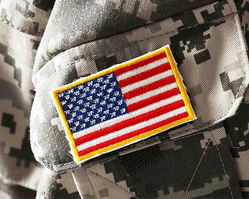 Photo of the U.S. Flag on a military uniform