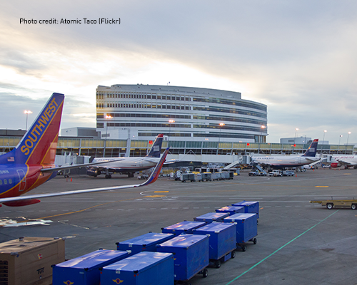Photo of planes outside of SeaTac airport