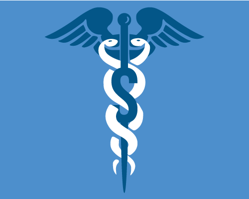 Graphic of the caduceus and a dollar sign