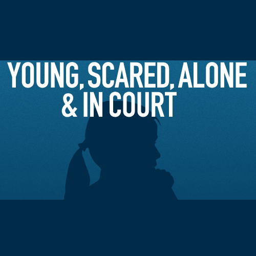 Young, Scared, Alone, and In Court Logo