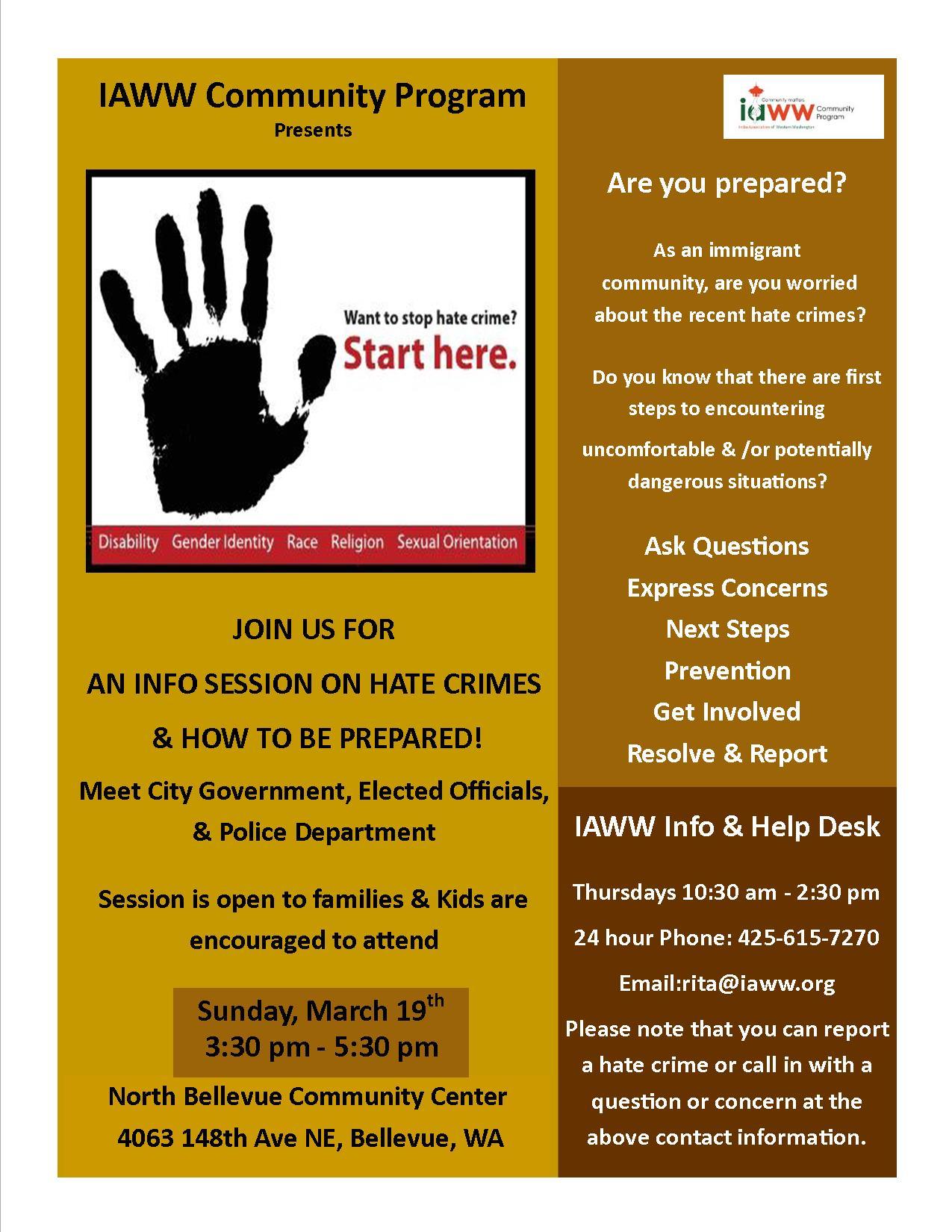 Hate Crime Info Session Flyer