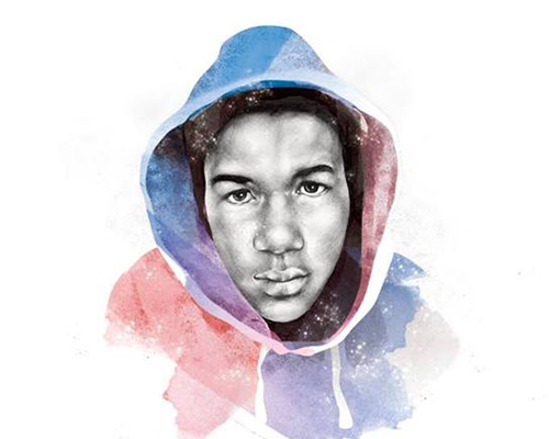 A watercolor portrait of Trayvon Martin