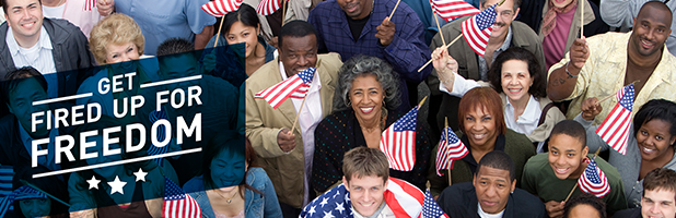 """Photo of people holding American Flags labelled """"Fight for Freedom"""""""