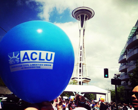 Photo of a balloon in front of the space needle