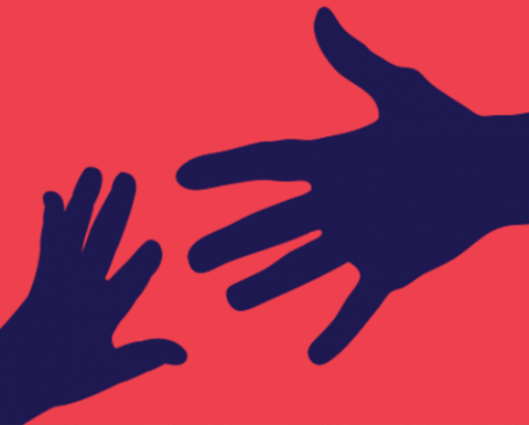 An illustration of two hands reaching for each other