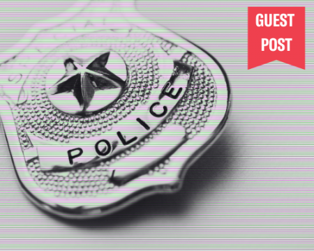 image of police badge in black and white