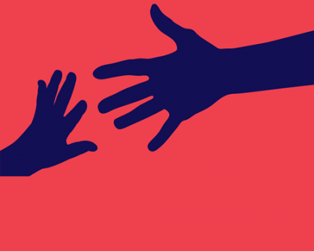Illustration of hands reaching for each other