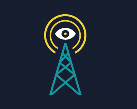 Picture of a watching eye above a cell tower.