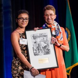 Photo of ACLU of Washington Board President Jean Robinson with Veronique Harris, winner of our youth activist award