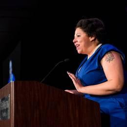 Photo of ACLU of Washington Board Member Jamila Johnson at the podium