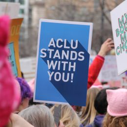 Photo of ACLU stands with you sign