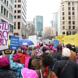 Photo of march in Downtown Seattle