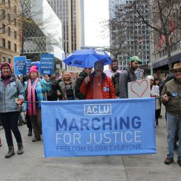 Photo of the ACLU's Marching for Justice banner
