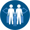 Immigrant Rights Project icon featuring a family with suitcases