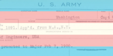 Photo of a transgender pride flag superimposed on an Army discharge record