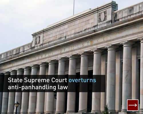 State Supreme Court overturns anti-panhandling law