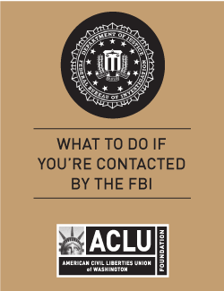 Cover of the Know Your Rights with the FBI wallet card in Arabic