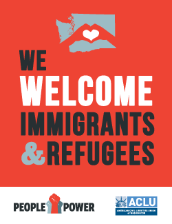 We welcome immigrant and refugees poster