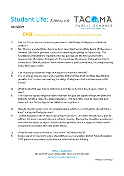 Cover of the Tacoma Public Schools FAQ on student first amendment rights