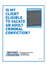 Cover of Is My Client Eligible to Vacation an Adult Criminal Conviction Guide