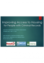 Title slide of Improving Access to Housing for People with Criminal Records