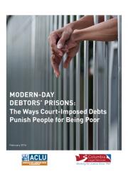 cover of modern day debtors' prisons report